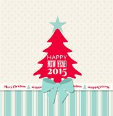 Christmas Greeting Card With Red Tree And Blue Ribbon