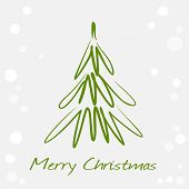 Card with green christmas tree