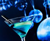 Blue Cocktail With Sparkling Disco Balls Background Disco Atmosphere
