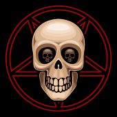 stock photo of pentagram  - Skull and pentagram - JPG