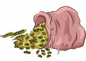 Illustration Featuring Beans Spilling from a bag