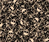 Skulls and bones. Seamless background