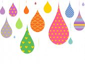 Illustration Featuring Droplets with Colorful Prints