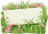 Illustration Featuring a Blank Board Surrounded by Grass and Flowers