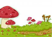 Background Illustration Featuring Colorful Mushrooms
