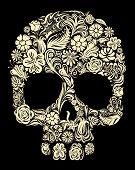 picture of embellish  - Skull of floral shapes - JPG