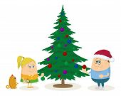 Children and Christmas fir tree
