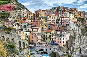 Houses On A Cliff In Manarola, Italy