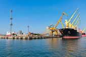 Loading Of Industrial Cargo Ship In Burgas Port