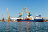 Industrial Cargo Ship Is Loading In Burgas Port