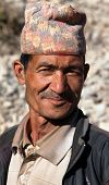 Nepal Man With Typical Nepali Hat On Head