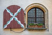 Window In Medieval Castle Mautendorf In Austria