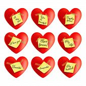 Set of vector hearts with inscriptions