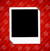 Winter Holidays Card With Blank Photo Frame On Red Background