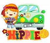 image of hippy  - a hippie woman who stands next to her car - JPG
