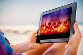 Woman sitting on beach in deck chair using tablet pc showing digitally generated palm tree backgroun