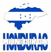 Honduras map flag and text vector illustration