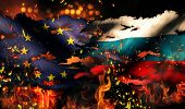 Europe Russia Flag War Torn Fire International Conflict 3D