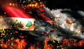 Iraq Un Flag War Torn Fire International Conflict 3D