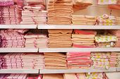 Bath Towels On The Shelves In The Store
