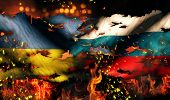 Ukraine Russia Flag War Torn Fire International Conflict 3D