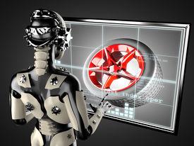 picture of cyborg  - cyborg woman manipulating hologram display - JPG