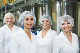 image of pharmaceuticals  - portrait of female pharmaceutical factory worker in pharmacy industry manufacture factory - JPG