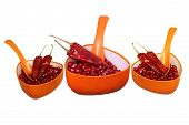Reddish Spicy Chilly and Pomegranate seeds in orange cup with spoon