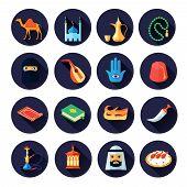 Постер, плакат: Arabic Culture Icon Flat