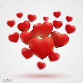 Many Valentine's hearts