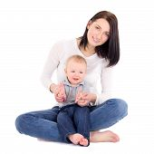 Portrait Of Young Happy Woman Woth Her Little Son Sitting Isolated On White