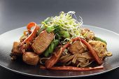 pic of fried chicken  - Chicken with carrots broccoli noodles sprouts and chili stir fry - JPG