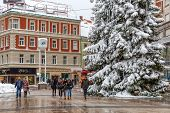 Zagreb main square in snow