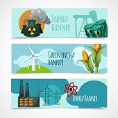 image of wind-power  - Energy horizontal banner set with oil nuclear green wind electricity power station elements isolated vector illustration - JPG