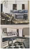 foto of interior sketch  - watercolor sketch of an interior hall dining room and kitchen - JPG