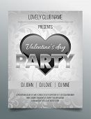 Valentine's day party flyer template - elegant and modern silver and black design
