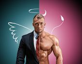 pic of muscle builder  - Attractive man in a business suit and without it on a blue - JPG