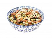 Постер, плакат: Mixed Dried Beans In A Blue And White China Bowl