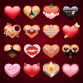 image of viagra  - Set of Vector Sex Hearts Icons for Erotic Projects - JPG