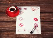 Cup Of Coffee And Lipstick