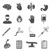 stock photo of scalpel  - Surgery icons black set  with brain blood stomach scalpel isolated vector illustration - JPG