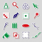 Various Computer Graphics Color Stickers Set Eps10