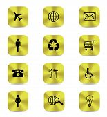 Gold Button Icons Isolated