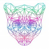 Abstract Gradient Colored Lion Silhouette Drawn In One Continuous Line