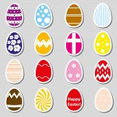 Various Color Easter Eggs Stickers Collection Eps10