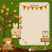 woodland animal  autumn card
