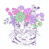 cat with wreath