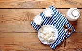 Assortment Of Diary Products For Breakfast (homemade Yogurt, Cottage Cheese; Milk)