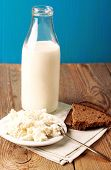 Assortment Of Diary Products For Breakfast (homemade Cottage Cheese, Milk And Rye Bread)