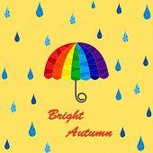 Rain and rainbow umbrella pattern